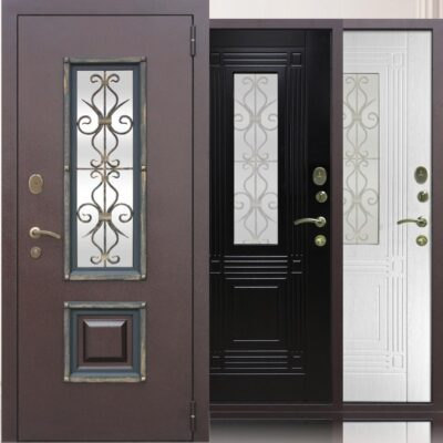 Входная дверь Венеция ковка и стекло
