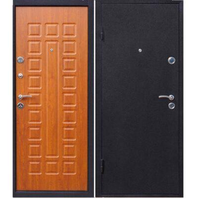Входная дверь золотой дуб и металл